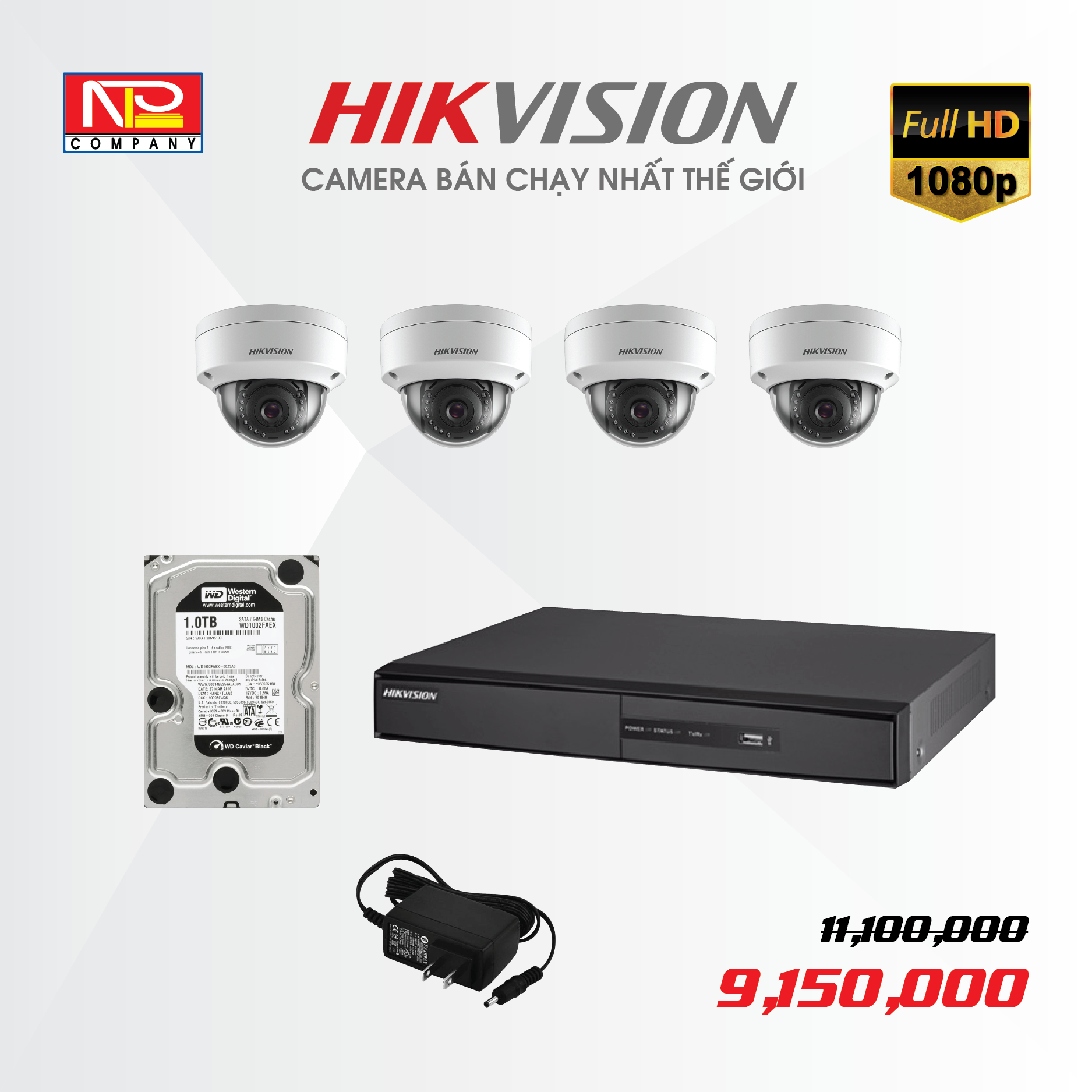 Bộ kit 4 camera IP Hikvision Full HD1080P