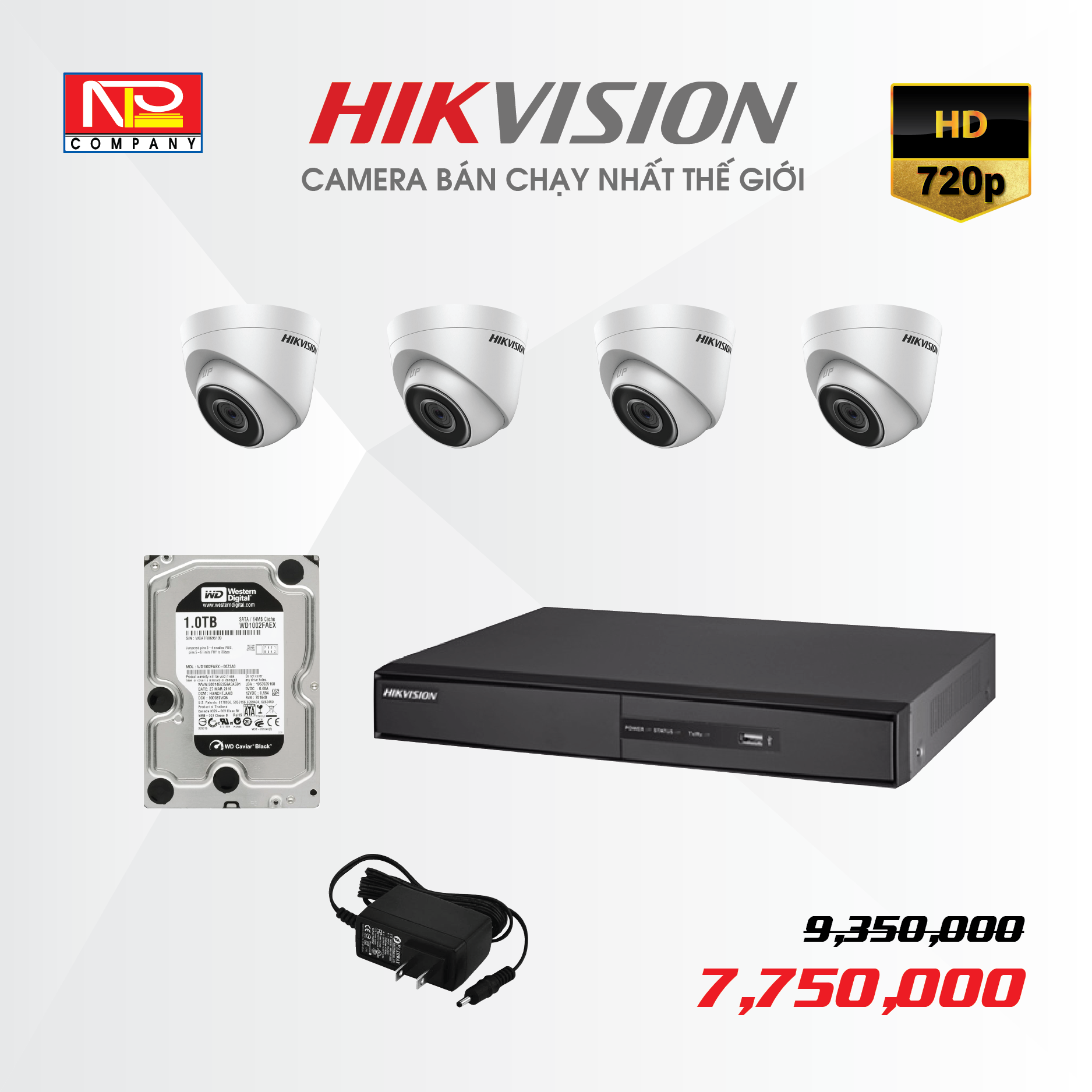 Bộ kit 4 camera IP Hikvision HD720P