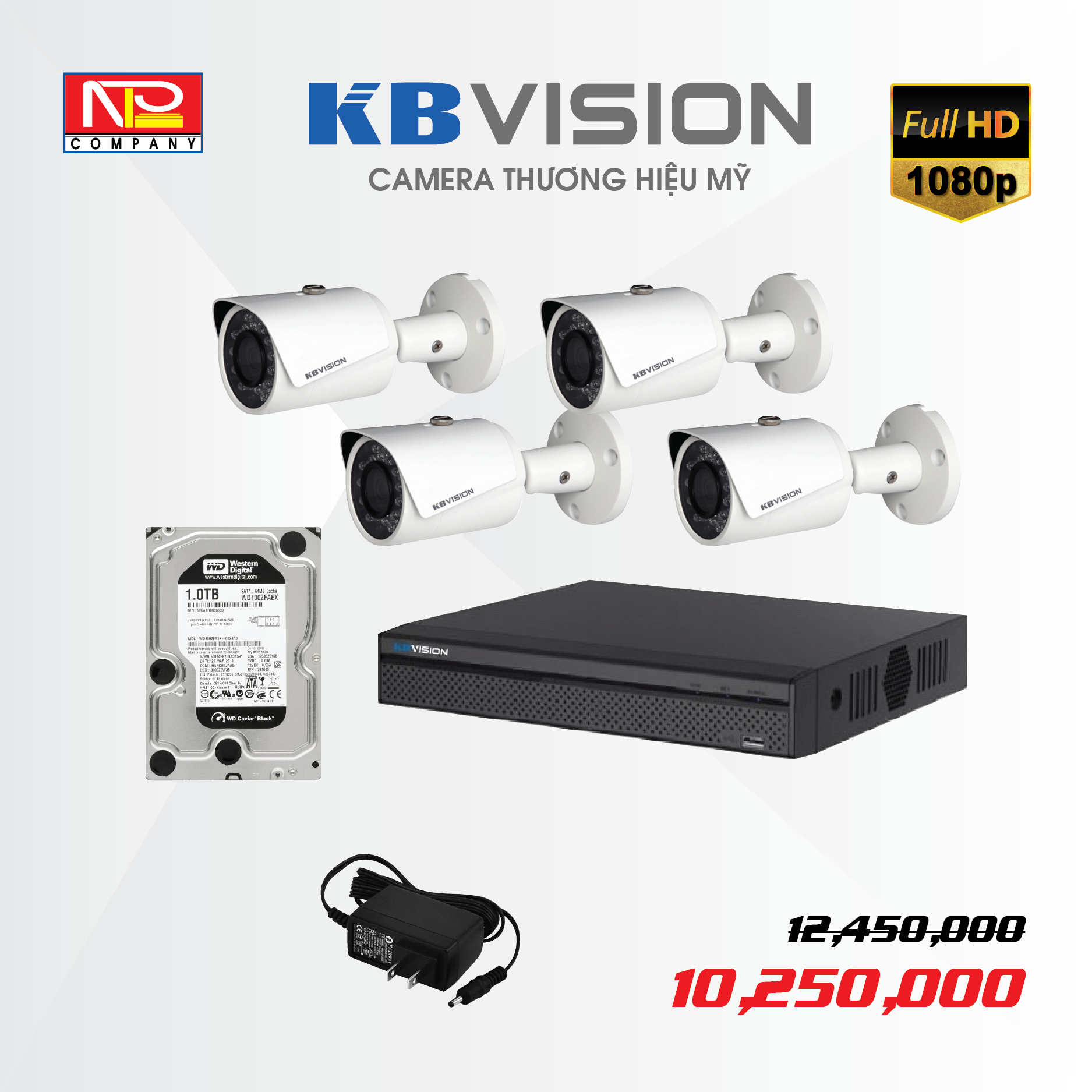 Bộ kit 4 camera IP KBVision FULL HD 1080P
