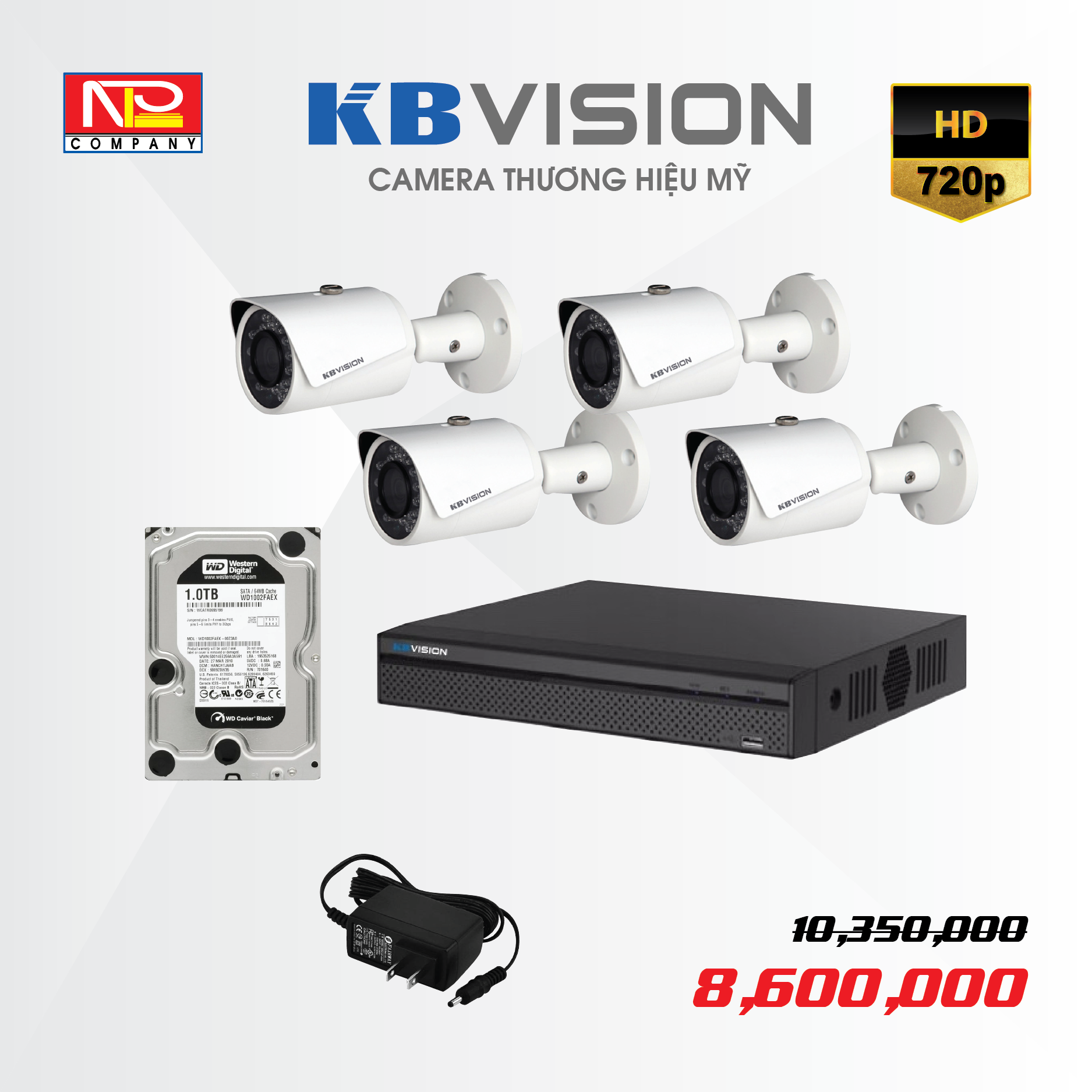 Bộ kit 4 camera IP KBVision HD720P
