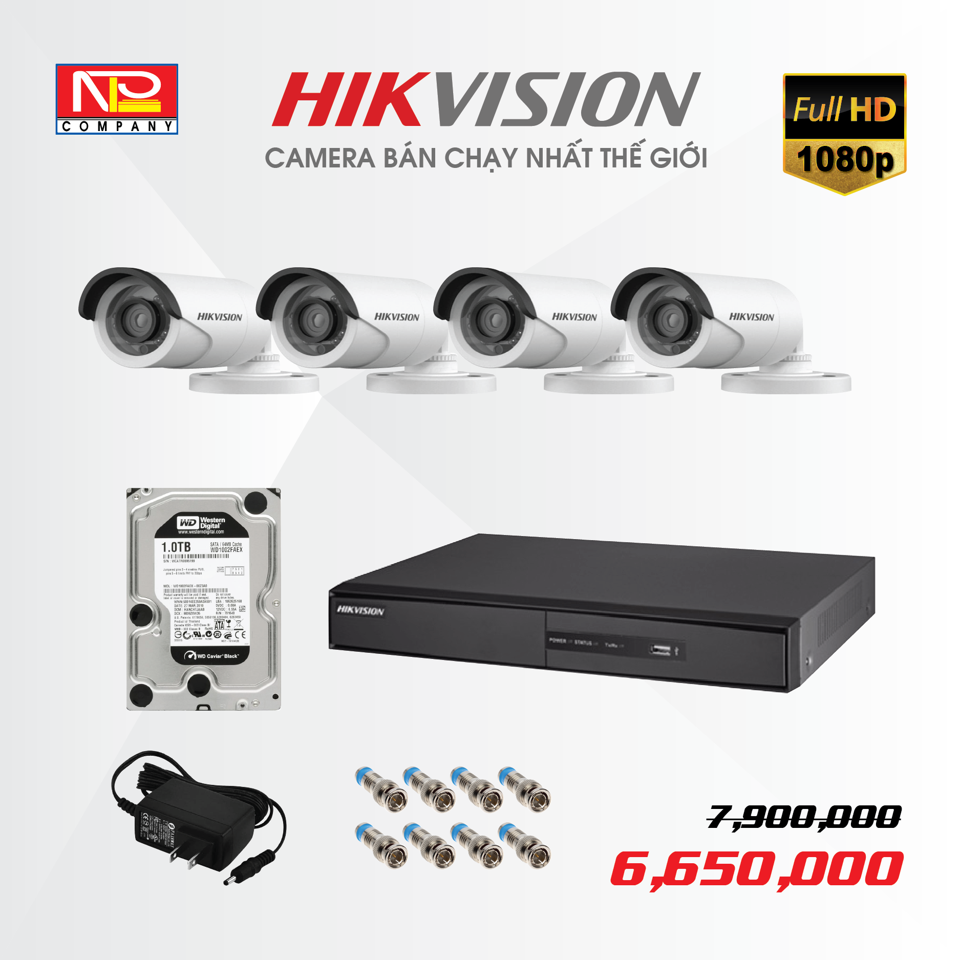 Bộ kit 4 camera analog Hikvision Full HD1080P