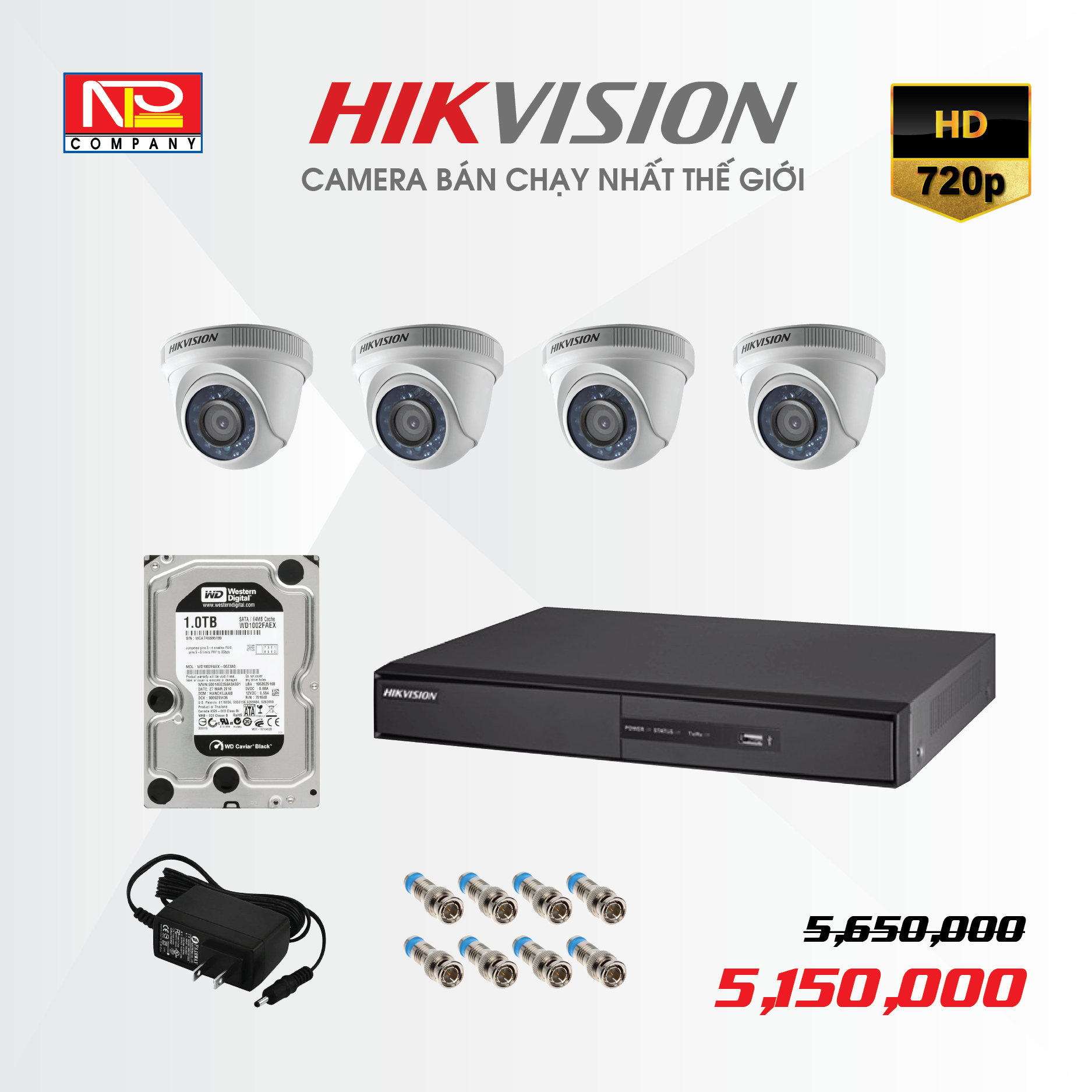 Bộ kit 4 camera analog Hikvision HD720P