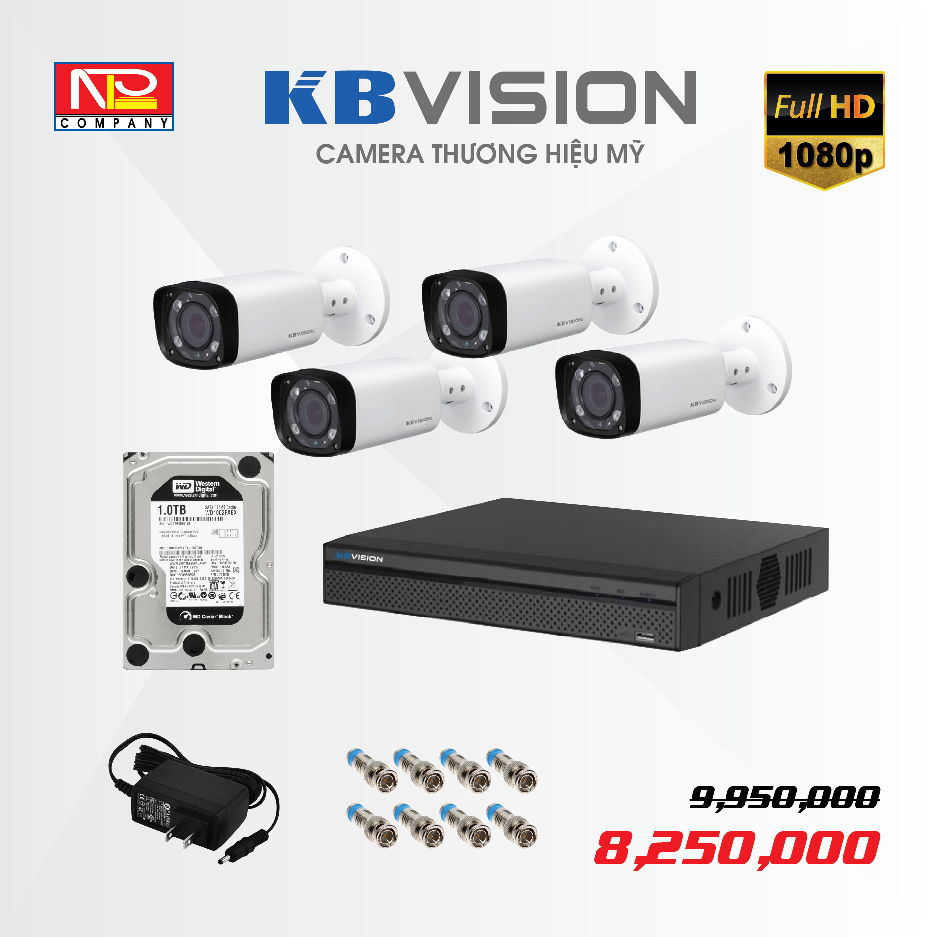 Bộ kit 4 camera analog KBVision FULL HD1080P