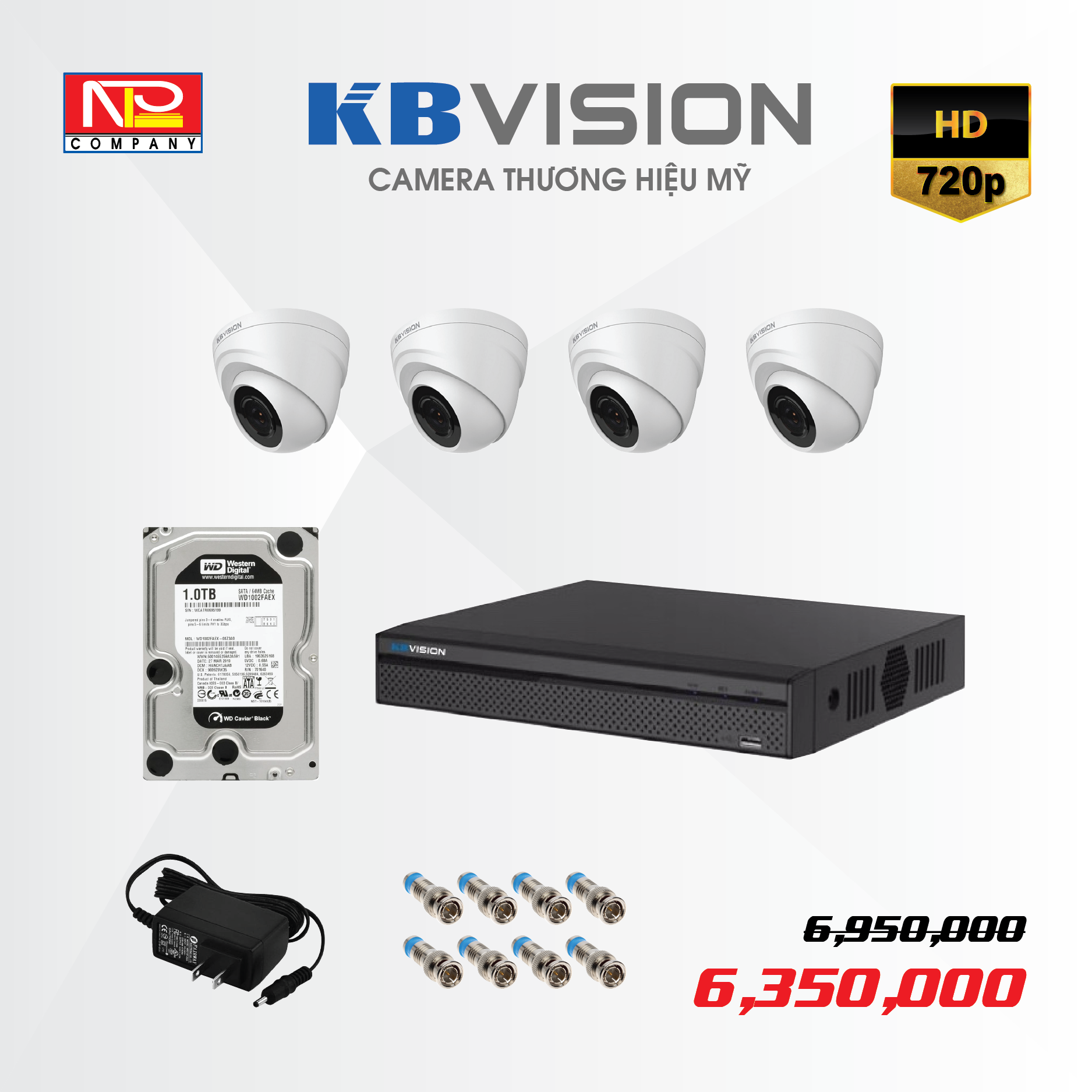 Bộ kit 4 camera analog KBVision HD720P