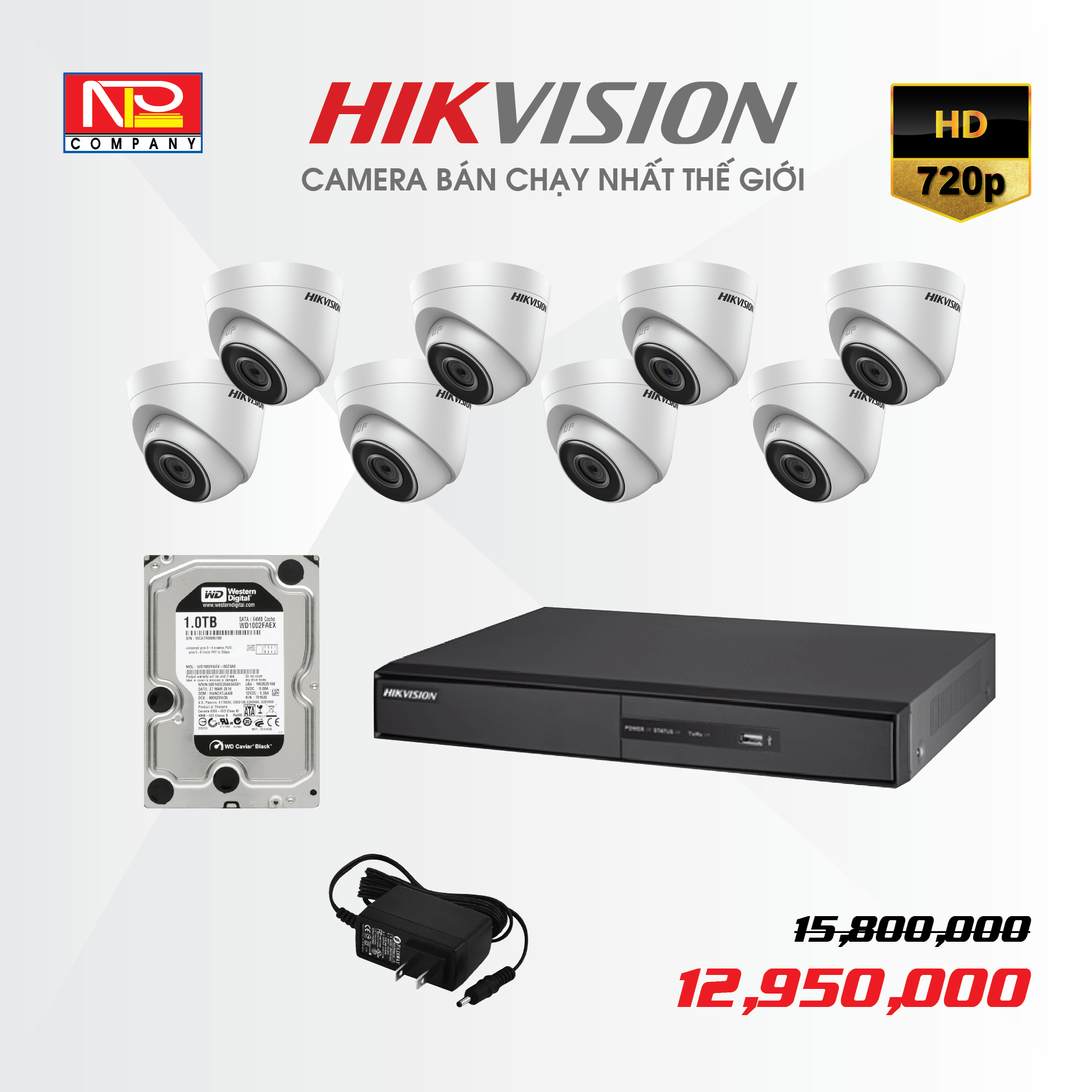 Bộ kit 8 camera IP Hikvision HD720P