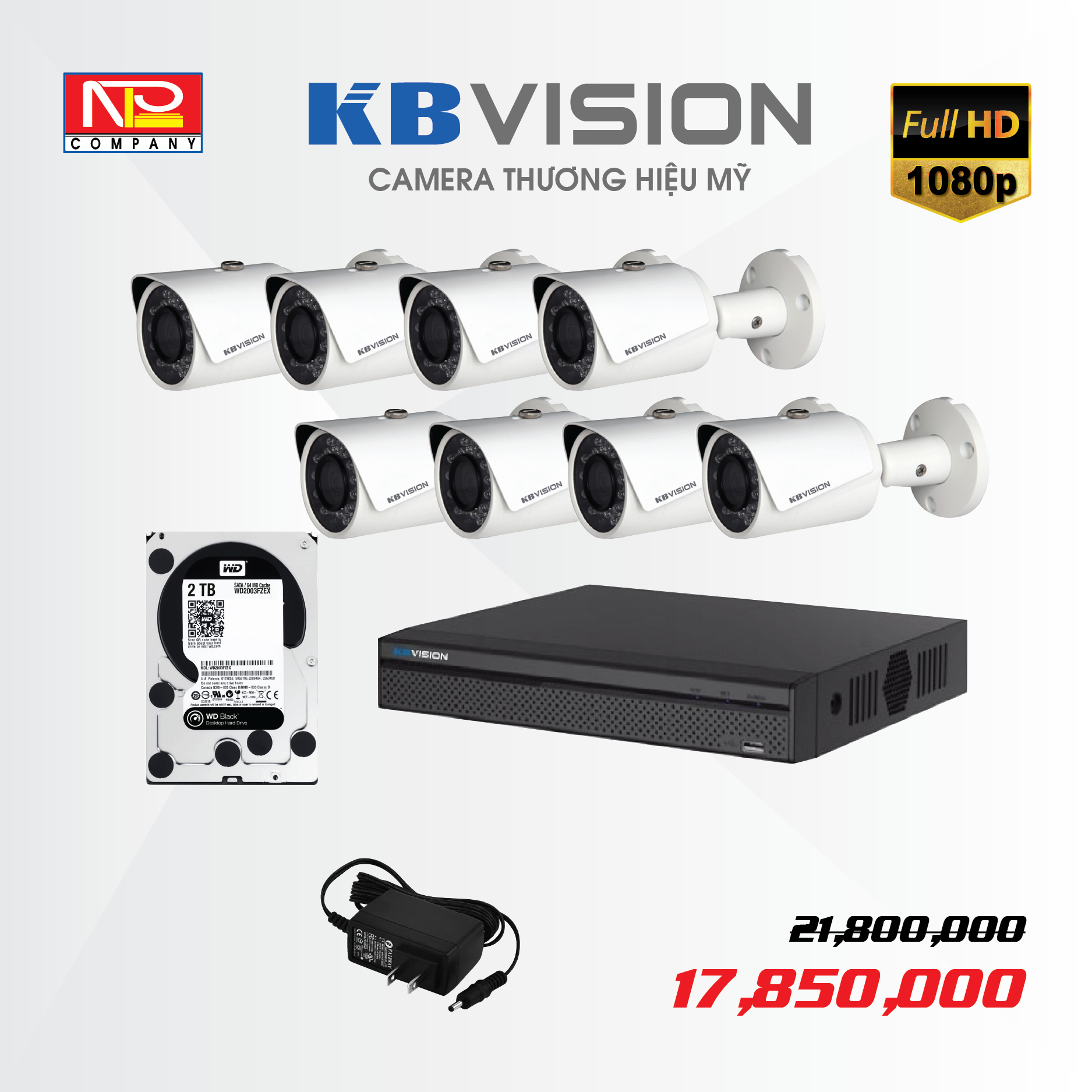 Bộ kit 8 camera IP KBVision FULL HD 1080P