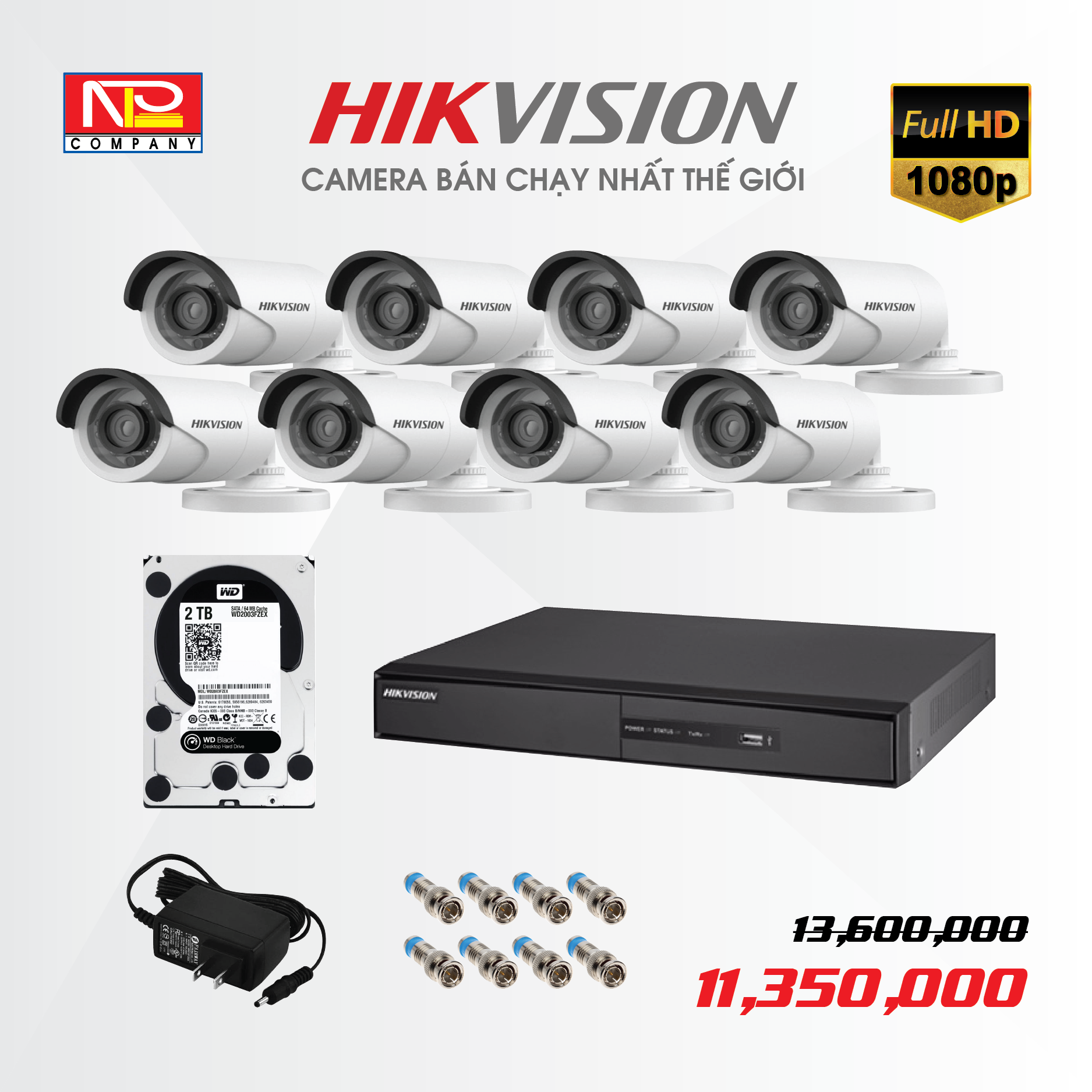 Bộ kit 8 camera analog Hikvision Full HD1080P