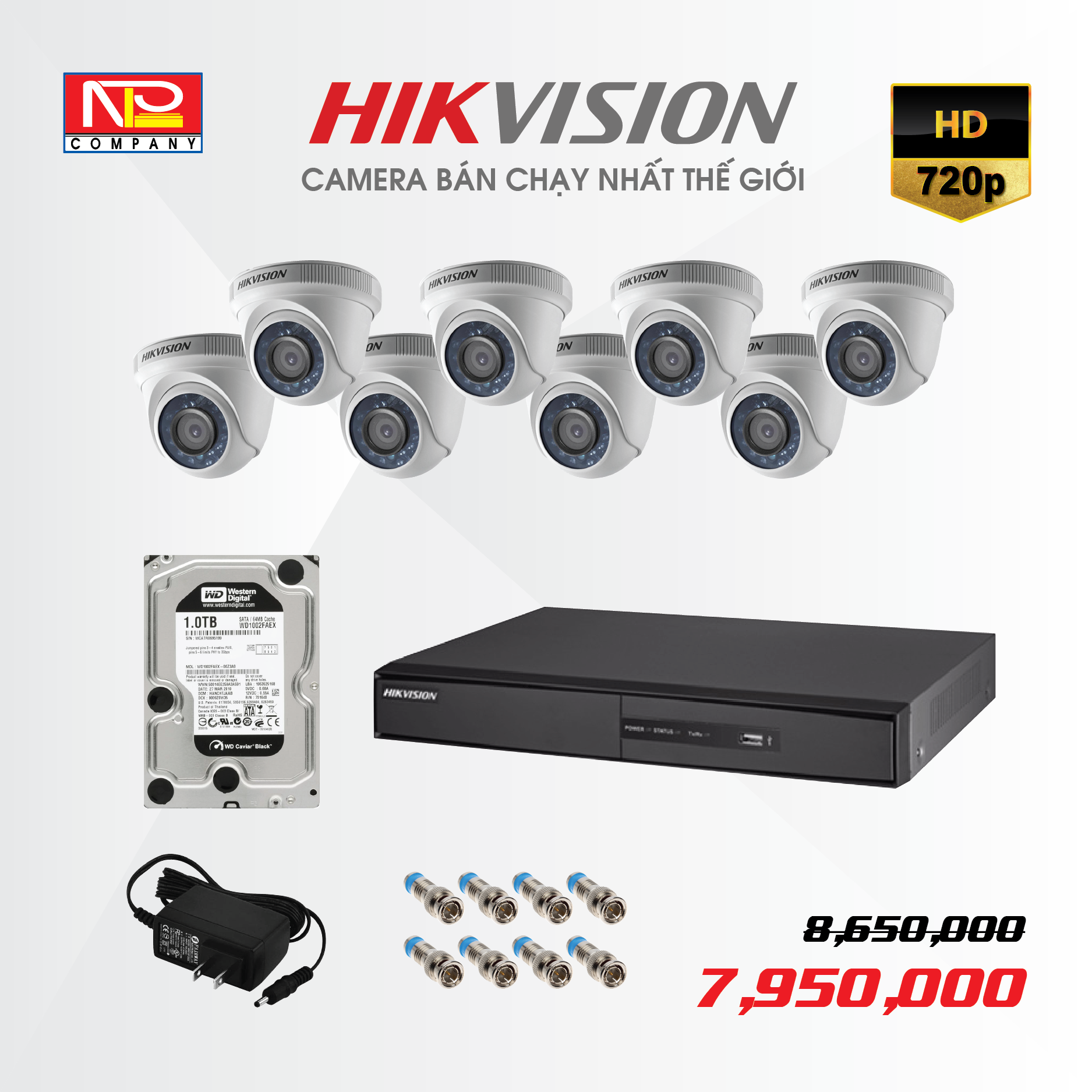 Bộ kit 8 camera analog Hikvision HD720P