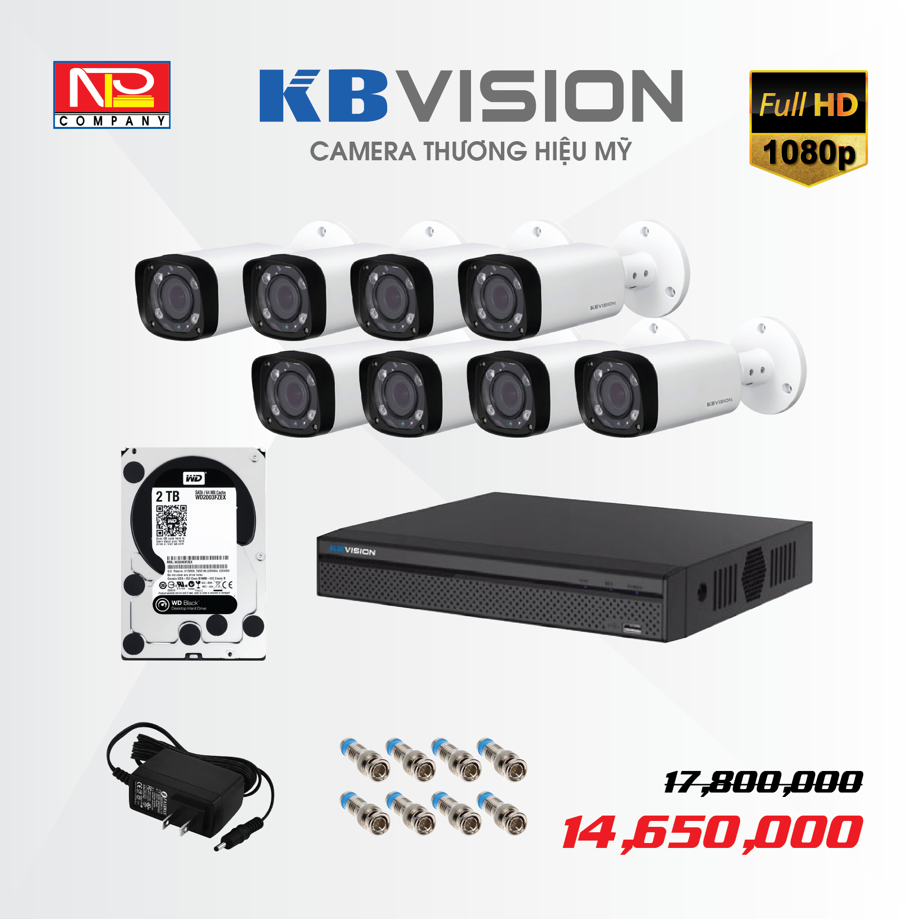 Bộ kit 8 camera analog KBVision FULL HD1080P