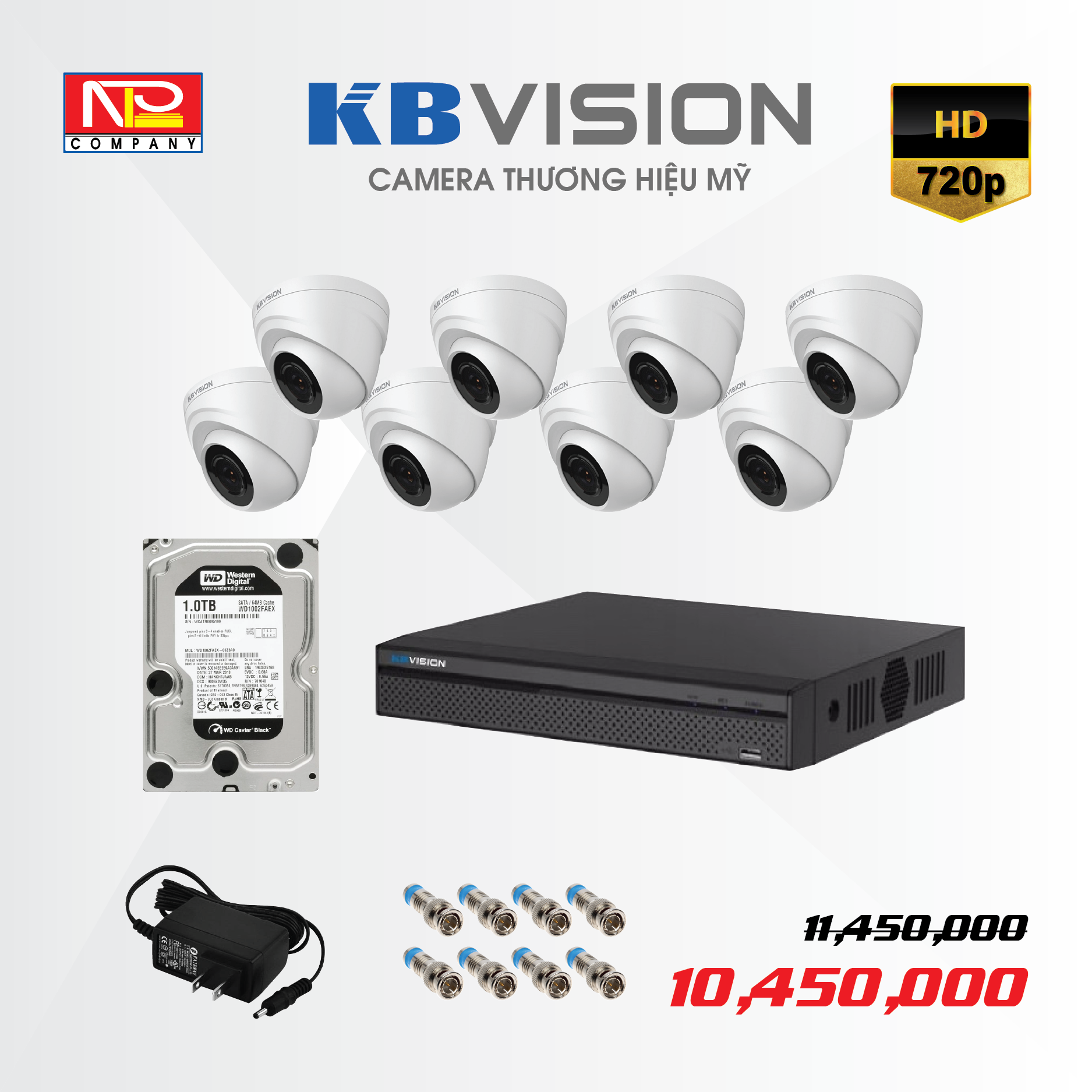 Bộ kit 8 camera analog KBVision HD720P