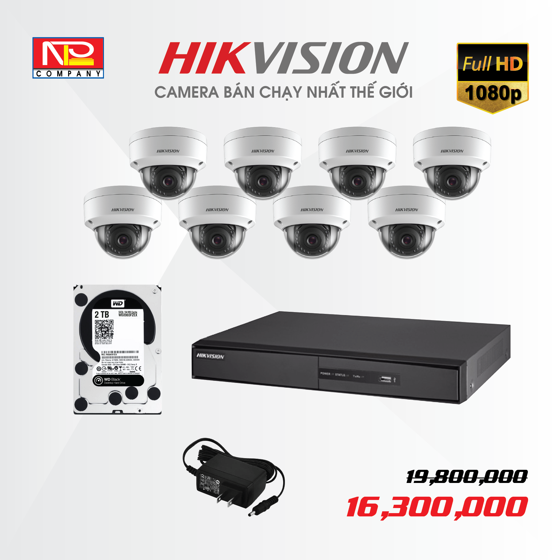 Bộ kit 8 camera IP Hikvision Full HD1080P