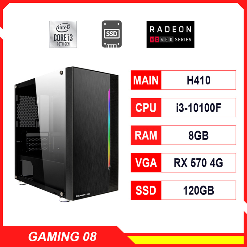 NPL Gaming 8 (i3 10100F-8G-RX570) – Máy tính chơi game CPU 10th