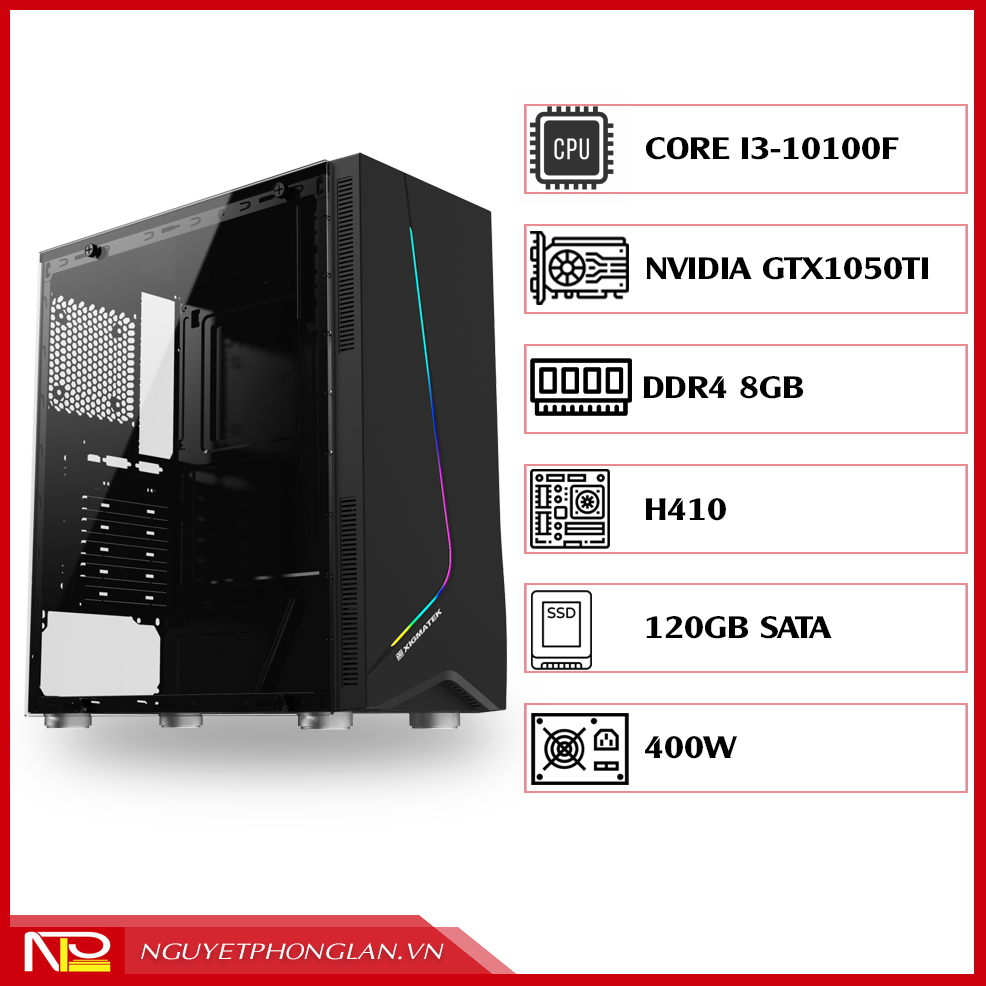 PC NPL Gaming 3 (i3 10100F-RAM 8GB-GTX 1050ti) – Máy tính chơi game giá tốt hiệu năng cao
