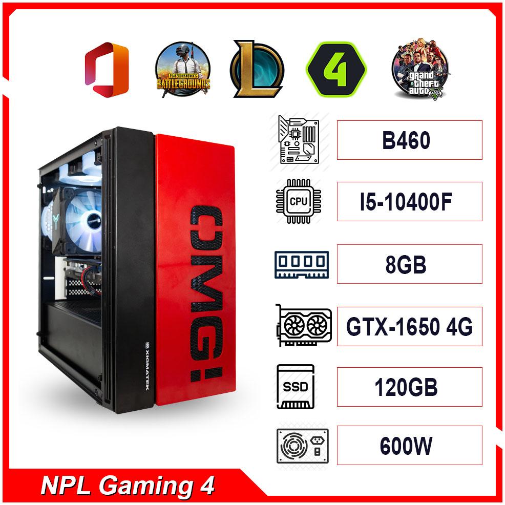 PC NPL Gaming 4 (i5 10400F-RAM 8GB-GTX 1650) – Máy tính chơi game giá tốt hiệu năng cao
